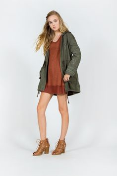 LONG SLEEVE EMBROIDERY APPLIQUE MILITARY PARKA JACKET