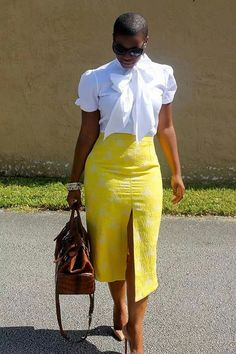 That Shirt! That Skirt, Bag, Glasses, Hair Cut & Heels! Tone down the split and definitely work attire. Casual Outfits, Cute Outfits, Fashion Outfits, Womens Fashion, Fashion Trends, Ladies Fashion, I Love Fashion, Passion For Fashion, Yellow Fashion