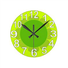 Shop Lime Green country kitchen Round Clock created by blubush. Green Country Kitchen, Lime Green Kitchen, Green Kitchen Decor, Kitchen Ideas, Kitchen Wall Clocks, Apartment Ideas, Kitchens, Image, Green