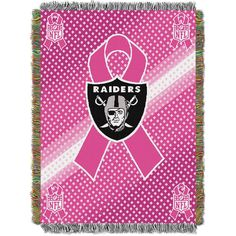 Oakland Raiders NFL Woven Tapestry Throw (Breast Cancer Awareness) (48x60)