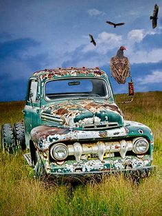 Vultures And The Abandoned Truck is a photograph by Randall Nyhof. Source fineartamerica.com