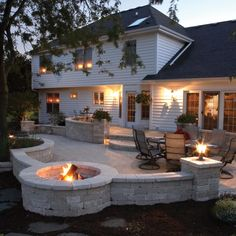 Back yard idea. Love the patio with the built in fire pit.-I Love entertaining so this would be perfect for spring/summer!