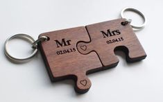 Valentine's Day Gift- 'Mr & Mrs' Jigsaw Keyring Set.