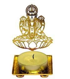Buy Goddess Laxmi Mata golden Machine Cutting Work Festive Diya with Wax diya online