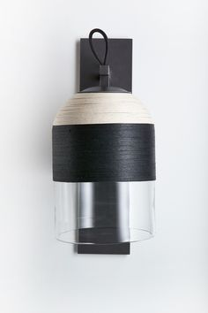 Indi Wall Sconce by Articolo - black and natural weaving