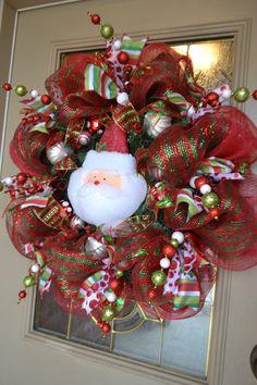 Santa Mesh Wreath by kristenscreations on Etsy