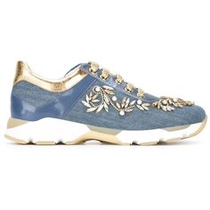 Rene Caovilla Queen Sneakers (1,472,760 KRW) via Polyvore featuring shoes, sneakers, blue, patent leather sneakers, patent sneakers, patent shoes, rene caovilla shoes i blue sneakers