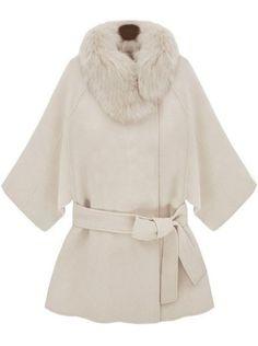 Abrigo de lana cuello de pelo con cinto-Crudo EUR€49.10