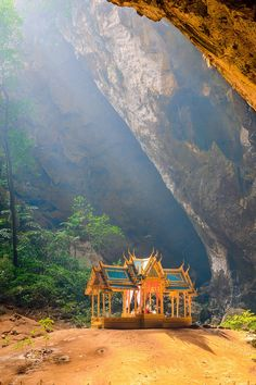 Phraya Nakhon Cave is the most popular attraction is a four-gabled pavilion constructed during the reign of King Rama its beauty and distinctive identity the pavilion at Prachuap Khiri Khan, Thailand