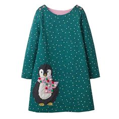 Amazon.com  VIKITA Toddler Girl Animal Stripe Cotton Long Sleeve Dress Baby  Girls Winter 70342a1f9