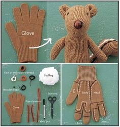 Gloves can be as elusive as socks. Find yourself with only one glove from a pair but can't bare to just throw it out? Turn it into a Squirrel! The site is in French, but the images are easy to follow and labled in English. I believe it may be designed by a Japanese woman named Miyako Kanamori, or she inspired the pattern.