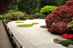 gravel and bushes in zen garden in portland oregon