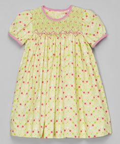 Look what I found on #zulily! Lime & Pink Smocked Dress - Infant & Toddler #zulilyfinds
