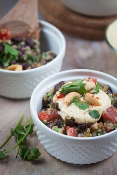 Quinoa and Black Beans with Cashew Queso Sauce. 1 1/2 cup quinoa  2 1/4 cup vegetable broth  16-oz can 