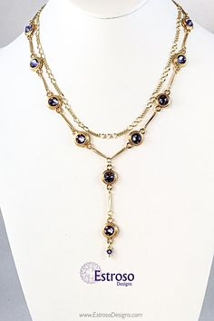 Tanzanite and Gold Y Drop Necklace by EstrosoDesigns on Etsy