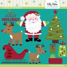 Christmas Santa and Reindeer Clip Art  by Kellymedinastudios, $5.00