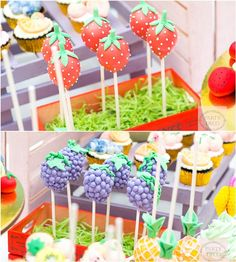 These Tutti Frutti Strawberry and Grape Cake Pops are perfect for your party guests to grab and go and your Tropical Fruit Party. Decorate your Strawberries with White & sprinkles from Baking Time Club Fruit Birthday, 2nd Birthday Party Themes, First Birthday Parties, First Birthdays, Birthday Ideas, Birthday Bash, Fruit Party, Party Desserts, Party Party
