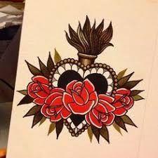 heart tattoo old school small Love Tattoos, Tattoo You, Beautiful Tattoos, Body Art Tattoos, New Tattoos, Lupus Tattoo, Tatoos, Sternum Tattoos, Sagrado Corazon Tattoo