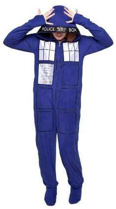 6950b43e2d Doctor Who Tardis Zip-up Footed Pajamas (Large) Underboss