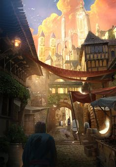 ArtStation - MiddleAges Alley, Kim Eun Chul. Looks like a typical street or alley in Penumbra City.