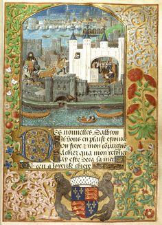 The Tower of London with London Bridge, Royal 16 F II f.73, c.1500