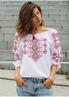 Стильная женская вышиванка натуральный лен БЛ-078073