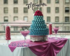 Turquoise Ombre wedding cake ball cake!...