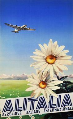 Vintage Italian Posters ~ #illustrator  #Italian #vintage #posters ~ Alitalia 1950