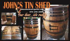 Wine barrel conversion, doors & shelf Door Shelves, Shelf, Tin Shed, How To Remove Rust, Plasma Cutting, Coffee Cans, Barrel, Restoration, Great Gifts