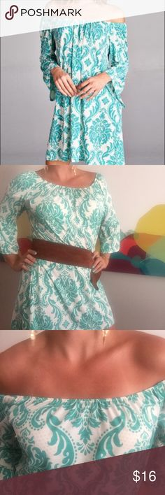 Turquoise & White Damask Off-Shoulder Short Dress NWOT- Never Worn - extremely comfortable, versatile, breathable, Forgiving!!  100% Polyester  Above Knee.  Looks great loose fitting or belted for a day to night look! red lolly Dresses Midi
