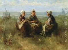 Three Women Knitting by the Sea