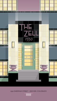 """Deco Next Door"" is a new collection of artwork created by Christian Musselman and inspired by the many Art Deco apartment buildings throughout the Denver area. The Zell Apartments."