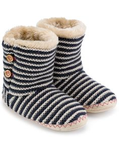 Pearl Knit and Button Slipper Boot