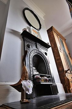 Guest Bedroom, Victorian cast iron fireplace, Victorian House, Renovation.