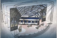A scenic design sketch of On the Twentieth Century by Tony-nominated designer David Rockwell. #OntheTwentiethCentury