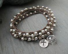 Silver cross crochet wrap bracelet necklace  The por slashKnots