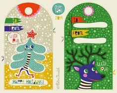 Adorable free printable holiday gift tags by illustrator Helen Dardik.
