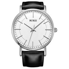 BUREI Womens Sliver Ultra Thin Watches For Small Wrists with Black Leather Strap White Dial *** Read more  at the image link. (Note:Amazon affiliate link)