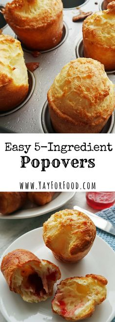 Easy Popovers Puffed, flaky, and golden brown. Popovers are great as a side dish or treat that you can have with an entree or on its own. The hollowed insides are perfect for holding butter or fruit jams. Muffin Tin Recipes, Bread Recipes, Cooking Recipes, Planning Menu, Biscuit Bread, Cooking Bread, Bread Baking, Fruit Jam, Crack Crackers