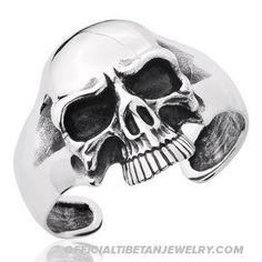 Handmade Tibetan Titanium Steel Bracelet Big Skull Bracelet_72