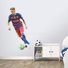Neymar in action for Barcelona, produced in a lifesize wall graphic. The stickers are available in 2 size options - a life-size metres height (large) or a smaller height of metres (small). Perfect for kids bedrooms, schools, games rooms and sports clubs. Wall Stickers Gaming, Wall Stickers Unicorn, Neymar Barcelona, Game Room Kids, School Games, Sports Clubs, Sports Photos, Best Games, Canvas Frame