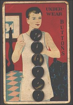 old vintage button card, mens underwear buttons