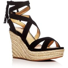 Splendid Janice Ankle Tie Espadrille Wedge Sandals ($145) ❤ liked on Polyvore featuring shoes, sandals, wedges, black, wedge espadrilles, wedge shoes, black sandals, ankle wrap sandals and black shoes