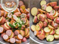 These roasted potatoes are ultra crispy and flavorful with a perfect browning on the coins of kielbasa. Easy, one-pan roasted potatoes and sausage recipe. Roasted Potatoes And Sausage Recipe, Sausage Recipes, Potato Recipes, Cooking Recipes, Cooking Ideas, Kielbasa, Healthy Vegan Snacks, Healthy Recipes, Potato Poppers Recipe