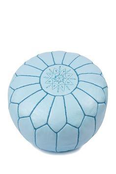 Moroccan Leather Pouf Ottoman - Sky Blue - 19in. x 19in. x 11in. on HauteLook