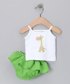 Take a look at this White Giraffe Tank & Diaper Cover - Infant by Victoria Kids on #zulily today!