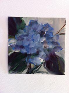 Painting One Hydrangea  Original  on Paper  Blue  by Studio155, $48.00