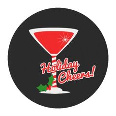 Holiday Cheers Red Martini Edible Frosting Rounds will dress up all your holiday and Christmas cupcakes and treats! Available for purchase on Zazzle.
