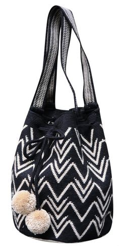 Black and White Boho Geometric Purse with Pom Poms // Wayuu Mochila Tote… Crotchet Bags, Knitted Bags, Crochet Handbags, Crochet Purses, Mochila Tote, Mochila Crochet, Tapestry Crochet Patterns, Tapestry Bag, Boho Bags
