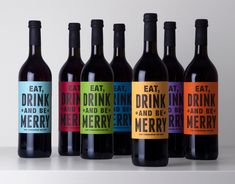 Christmas Wine - Eat DRINK and be MERRY wine labels.